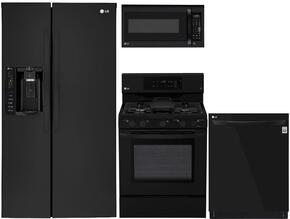 """4-Piece Kitchen Package with LSXS26326B 33"""" Side by Side Refrigerator, LRG3193SB 30"""" Freestanding Gas Range, LMV1762SB 30"""" Over the Range Microwave, and LDP6797BB 24"""" Built In Fully Integrated Dishwasher in Black"""