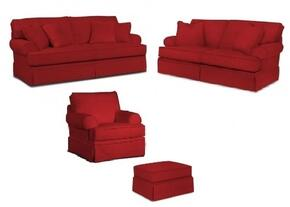 Emily 6262QGSLCO/4022-65 4-Piece Living Room Set with Queen Good Night Sleeper, Loveseat, Chair and Ottoman in 4022-65 Red