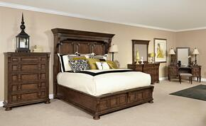 Lyla 4912KMBCDMVS 6-Piece Bedroom Set with King Mansion Bed, Chest, Dresser, Landscape Mirror, Vanity and Stool in Brown