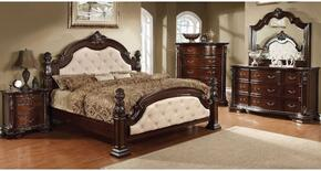 Monte Vista I Collection CM7296LAQDMCN 5-Piece Bedroom Set with Queen Bed, Dresser, Mirror, Chest and Nightstand in Brown Cherry Finish
