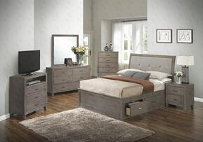 G1205BKSBCHDMNTV 6 Piece Set including King Storage Bed, Chest, Dresser, Mirror, Nightstand and Media Chest  in Gray
