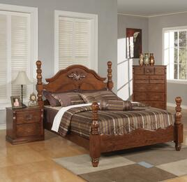 Ponderosa Collection 01720QBNC 3 PC Bedroom Set with Poster Bed + Nightstand + Chest in Walnut Finish