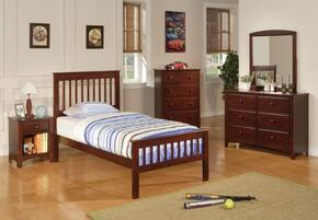 Parker 400290TSETD 5 PC Bedroom Set with Twin Slat Bed + Dresser + Mirror + Chest + Nightstand in Chestnut Finish