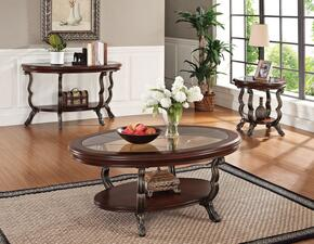Bavol 80120CES 3 PC Living Room Table Set with Coffee Table + End Table + Sofa Table in Cherry and Brown Finish