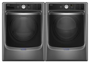 "Metallic Slate Front Load Laundry Pair with MHW8200FC 27"" Washer and MGD8200FC 27"" Gas Dryer"
