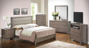 G2405AFBSET 6 PC Bedroom Set with Full Size Panel Bed + Dresser + Mirror + Chest + Nightstand + Media Chest in Grey Finish