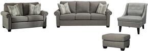 Gilman Collection 92602SLACO 4-Piece Living Room Set with Sofa, Loveseat, Accent Chair and Ottoman in Charcoal