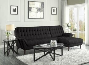 Natalia Collection 503778ST 4-Piece Living Room Set with Sectional Sofa, 2 End Tables and Coffee Table in Black Color