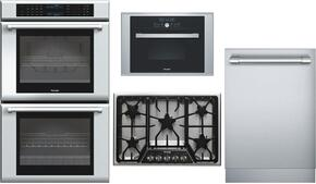 "4-Piece Stainless Steel Kitchen Package with ME302JP 30"" Double Wall Oven, MES301HS 24"" Single Steam Convection Oven, SGSX305FS 30"" Gas Cooktop and DWHD651JFP 24"" Fully Integrated Dishwasher"
