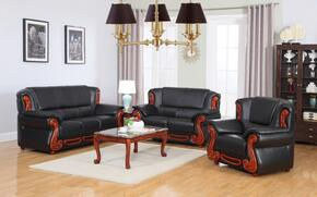 6 Piece Living Room Set with Sofa, Loveseat, Arm Chair, Coffee Table, End Table and Chaise in Black