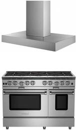 "2-Piece Kitchen Package with BSP488BNG 48"" Gas Freestanfing Range and BSMANH48SS 48"" Wall Mount  Range Hood in Stainless Steel"