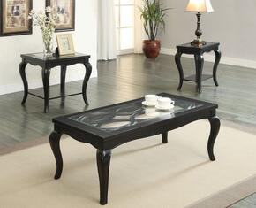 Sharlie 80905EDS 3 PC Living Room Table Set with Coffee Table + End Table + Side Table in Black Finish