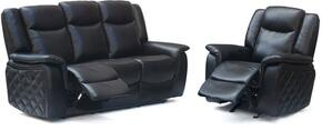 Carly 628-BL-S-C 2 Piece Living Room Set with Reclining Sofa and Reclining Chair in Black