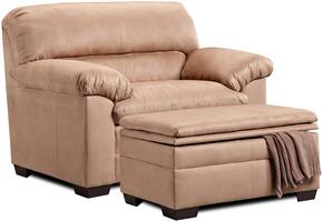 Velocity 3685-015095 2 Piece Set including  Chair and a Half and Ottoman with  Microfiber Upholstery in Latte