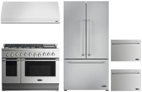 "4 Piece Kitchen Package With RDV2486GDL 48"" Dual Fuel Freestanding Range, VS48 48"" Wall Mount Hood, RF201ACJSX1 36"" French Door Refrigerator and two DD24SV2T7 24"" Dishwasher Drawers in Stainless Steel"