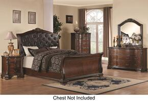 Maddison 202261KEDMN 4-Piece Bedroom Set with King Sleigh Bed, Dresser, Mirror and Nightstand in Cappuccino Finish