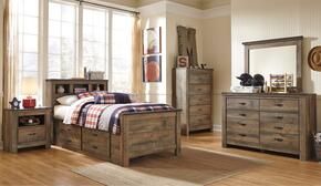 Becker Collection Twin Bedroom Set with Bookcase Bed with Trundle, Dresser, Mirror, Nightstand and Chest in Brown