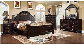 Syracuse Collection CM7129QBDMCN 5-Piece Bedroom Set with Queen Bed, Dresser, Mirror, Chest and Nightstand in Syracuse Collection CM7129CKBDMCN 5-Piece Bedroom Set with California King Bed, Dresser, Mirror, Chest and Nightstand in Dark Walnut Finish