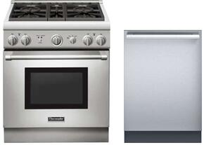 "2 Piece Stainless Steel Kitchen Package With PRD304GHU 30"" Gas Freestanding Range and DWHD440MFM 24"" Dishwasher For Free"