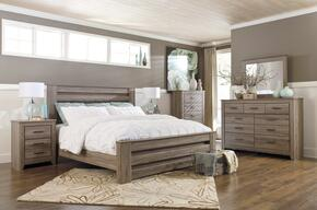 Zelen King Bedroom Set with Poster Bed, Dresser, Mirror and Nightstand in Warm Grey