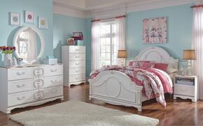 Korabella Full Bedroom Set with Panel Bed, Dresser, Mirror, Night Stand and Chest in White Finish