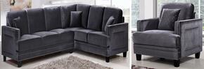 Ferrara 655GRY-SS-C 2 Piece Living Room Set includes Sectional Sofa + Chair with Velvet Upholstery in Grey