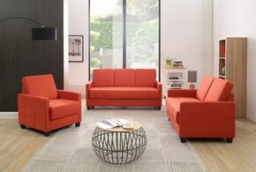 G772SET 3 PC Living Room Set with Sofa + Loveseat + Armchair in Orange Color