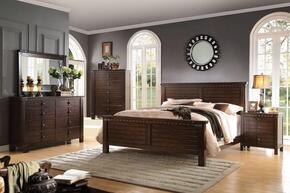 Brooklyn 23710Q5PC Bedroom Set with Queen Size Bed + Dresser + Mirror + Chest + Nightstand in Espresso Finish