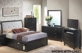 G1250FQSB2DMTV 4 Piece Set including Queen Size Storage Bed, Dresser, Mirror and Media Chest in Black