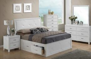 G1275BQSBDMN 4 Piece Set including Queen Size Bed, Dresser, Mirror and Nightstand  in White