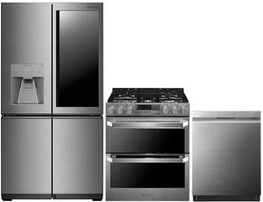 """3-Piece Stainless Steel Kitchen Package with LUPXC2386N 36"""" French 4 Door Refrigerator, LUTD4919SN 30"""" Slide-In Dual Fuel Range and LUDP8997SN 24"""" Fully Integrated Dishwasher"""