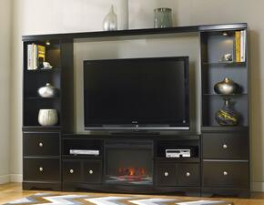 "Shay W27168KIT2 Entertainment Center with 63"" LG T.V. Stand, Fireplace Insert, 2 Tall Pier Cabinets and 65"" Bridge in Black Finish"
