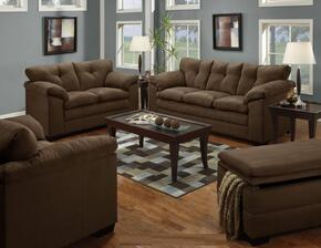 Luna 6565-03015095 3 Piece Set including Sofa , Chair and a Half and Ottoman with Tufted Back  in Chocolate