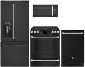 "4-Piece Black Slate Kitchen Package with CYE22UELDS 36"" French Door Refrigerator, CGS986EELDS 30"" Slide In Gas Range, CVM9179ELDS 30"" Over the Range Microwave, and CDT865SMJDS 24"" Fully Integrated Dishwasher"
