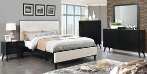 Lennart II Collection CM7387BKQBEDSET 5 PC Bedroom Set with Queen Size Panel Bed + Dresser + Mirror + Chest + Nightstand in Black Finish