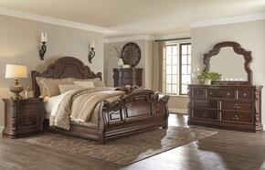 Florentown Queen Bedroom Set with Sleigh Bed, Dresser, Mirror and Nightstand in Dark Brown