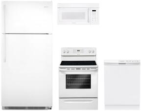 "4 Piece Kitchen package With FFEF3018LW 30"" Electric Range, FFMV162LW Over The Range Microwave Oven, FFTR1821QW 30"" Top Freezer Refrigerator and FFBD2412SW 24"" Built In Dishwasher In White"