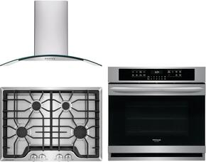 "Frigidaire Gallery 3-Piece Kitchen Package With FGGC3045QS 30"" Gas Cooktop, FGEW3065PF 30"" Electric Single Wall Oven and FHWC3060LS 30"" Wall Mount Convertible Hood in Stainless Steel"