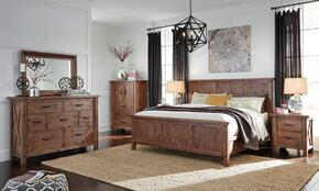 Tamilo Queen Bedroom Set with Panel Bed, Dresser, Mirror and Nightstand in Greyish Brown Finish