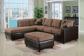 513302PC Milano 2 PC Living Room Set with Sectional Sofa and Ottoman in Saddle Easy Rider