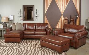 Malcolm Collection MI-4396SECCOL-SADL 3-Piece Living Room Set with Left Chaise Sectional Sofa, Armchair and Ottoman in Saddle Color