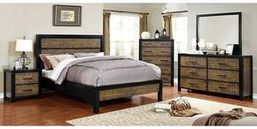 Hamberg Collection CM7693CKBDMCN 5-Piece Bedroom Set with California King Bed, Dresser, Mirror, Chest and Nightstand in Black and Oak Finish