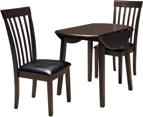 Hammis Collection 3-Piece Dining Room Set with Round Dining Table and 2 Side Chairs in Dark Brown