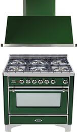 "2-Piece Emerald Green Kitchen Package with UM906DMPVSX 36"" Freestanding Dual Fuel Range (Chrome Trim, 6 Burners, Timer) and UAM90VS 36"" Wall Mount Range Hood"