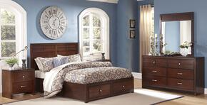 00060WSBDMNN Kensington 5 Piece Bedroom Set with California King Storage Bed, Dresser, Mirror and Two Nightstands, in Burnished Cherry
