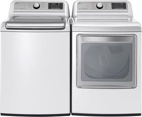 "White Top Load Laundry Pair with WT7500CW 27"" Super Capacity Washer and DLGX7601WE 27"" Electric Dryer"