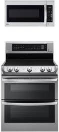 LG Double Oven Electric Range and Over-the-Range Microwave - Stainless Steel