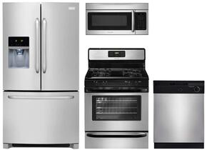 "4-Piece Kitchen Package with FFHB2740PS 36"" French Door Refrigerator, FFGF3023LS 30"" Gas Freestanding Range, FBD2400KS 24"" Built  In Dishwasher and  FFMV164LS 30"" Over The Range Microwave Oven in Stainless Steel"