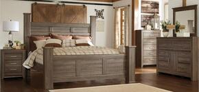 Juararo King Bedroom Set with Poster Bed, Dresser, Mirror and Nightstand in Dark Brown