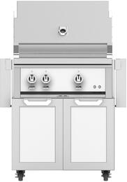 "30"" Freestanding Natural Gas Grill with GCD30WH Tower Grill Cart with Two Doors, in Froth White"